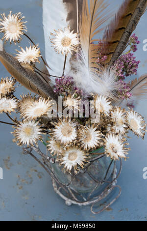 Dried Purple Flowers In Wire Heart Vase Stock Photo 311186080 Alamy