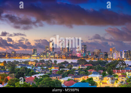 Perth. Aerial cityscape image of Perth skyline, Australia during dramatic sunset. - Stock Photo