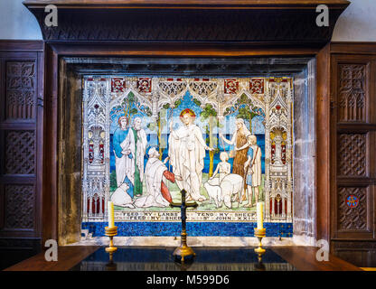 Colourful Italia mosaic religious picture inside a chapel in St Mary's parish church in Painswick, an unspoilt village - Stock Photo