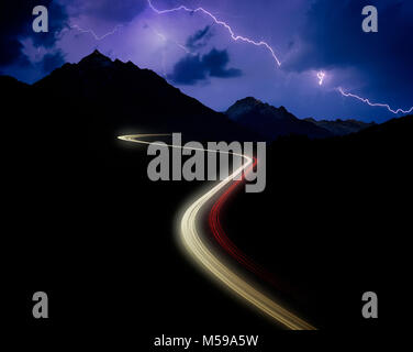 AT - TYROL: Brenner Pass Autobahn by night - Stock Photo