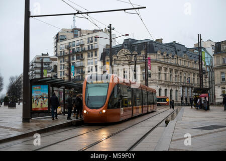Trams in the city of Le Mans, France - Stock Photo