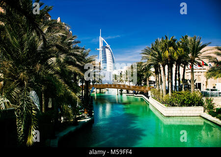 DUBAI, UAE - FEBRUARY, 2018: View on Burj Al Arab, the world only seven stars fotel seen from Madinat Jumeirah. - Stock Photo