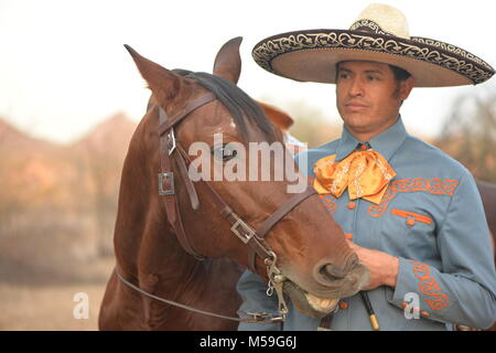 Caballero and  his horse (Andalusian stallion) - Stock Photo