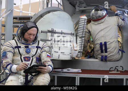 Moscow Region, Russia. 21st Feb, 2018. Roscosmos cosmonaut Oleg Artemyev, member of the ISS Expedition 55/56 main - Stock Photo