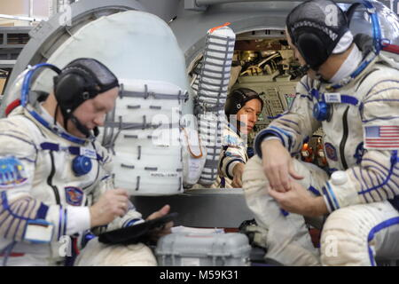 Moscow Region, Roscosmos cosmonaut Oleg Artemyev and NASA astronauts Andrew J. Feustel, Richard Arnold, members - Stock Photo