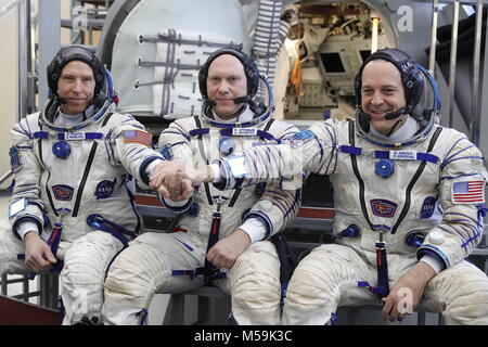 Moscow Region, Roscosmos cosmonaut Oleg Artemyev (C) and NASA astronauts Andrew J. Feustel (L), Richard Arnold (R), - Stock Photo