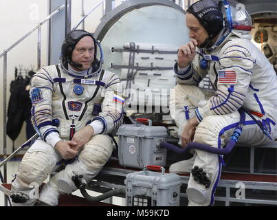 Moscow Region, Roscosmos cosmonaut Oleg Artemyev (L) and NASA astronaut Richard Arnold, members of the ISS Expedition - Stock Photo