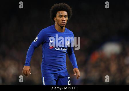 London, UK. 20th February, 2018. Willian of Chelsea - Chelsea v Barcelona, UEFA Champions League, Round of 16, 1st - Stock Photo