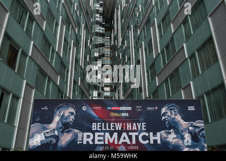 London, UK. 21st February, 2018. Tony Bellew and David Haye meet at a press conference at the Park Plaza Westminster - Stock Photo
