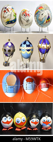 19.02.2018, Saxony, Leipzig: In the Easter eggs workshop of the hobby Easter egg painter Kerstin Dischereit, eggs - Stock Photo