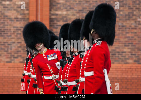 Windsor, UK. 21st February, 2018. An officer inspects the 1st Battalion Coldstream Guards as part of the Major General's - Stock Photo