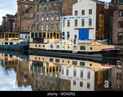 Sunshine on Leith, Water of Leith river, Leith, Edinburgh, Scotland, United Kingdom, 21st February 2018. UK weather. - Stock Photo