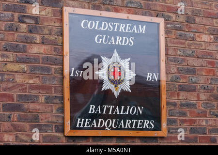 Windsor, UK. 21st February, 2018. A sign indicating the battalion headquarters for the 1st Battalion Coldstream - Stock Photo