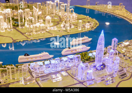 promotion suppliers scale model Shanghai China port buildings plastic - Stock Photo