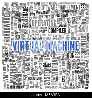 Virtual Machine word cloud concept with central large blue text surrounded by multiple related keywords - Stock Photo