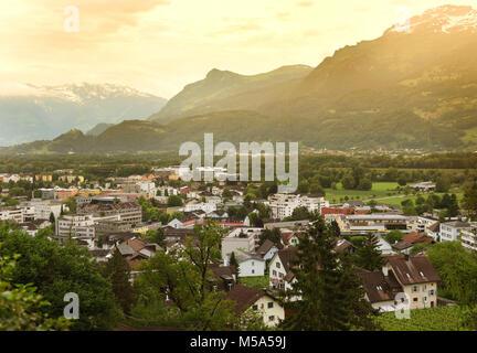 Vaduz, Liechtenstein top view. Vaduz is the capital of Liechtenstein and also the seat of the national parliament. - Stock Photo