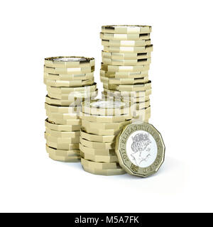 Stacks of new one pound coins gbp sterling - macro close up - Stock Photo