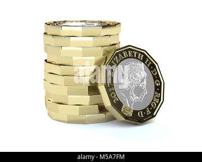 New £1 one pound coins sterling in a stack - macro close up - Stock Photo