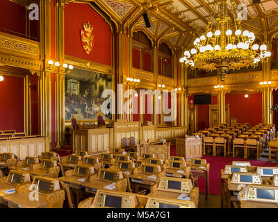 Interior of the Norwegian Parliament Chamber in Oslo, Norway, also known as the Storting or Stortinget - Stock Photo