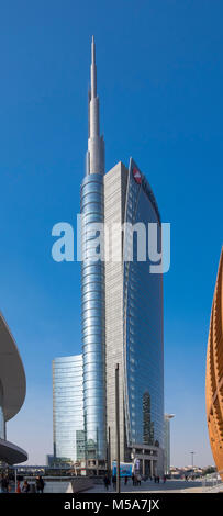 UniCredit Tower or Torre UniCredit skyscraper building in the Porta Nuova business district in Milan, Italy - Stock Photo