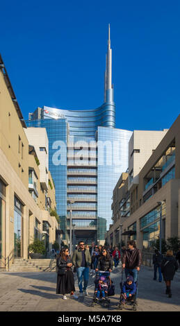 People walking in the Porta Nuova business district, Milan, Italy - Stock Photo