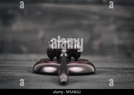 Law and Justice, Legality concept, Judge Gavel on a black wooden background. - Stock Photo