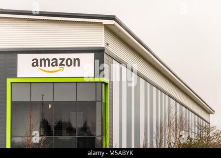 Northampton UK January 23 2018: Amazon Logistics Marketplace logo sign on warehouse wall in Grange Park Industrial - Stock Photo