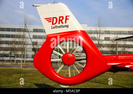 Magdeburg, Germany - 21 February 2018: Tail rotor of a helicopter of the German Air Rescue DRF from type Airbus - Stock Photo