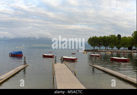 Ouchy port on Geneva Lake in Lausanne, Switzerland - Stock Photo