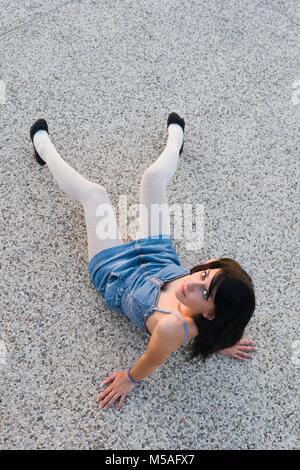 Young woman legs Black pumps heels images alpfabet - Stock Photo