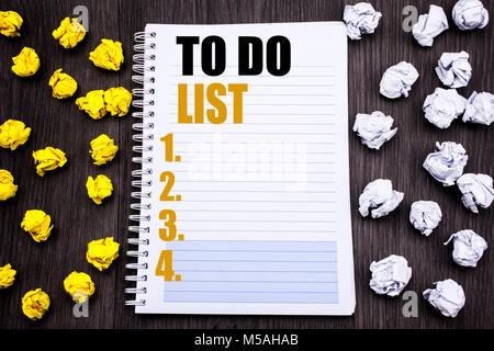 Conceptual hand writing text caption showing To Do List. Business concept for Plan Lists Remider Written notepad - Stock Photo