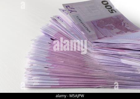 many 500 euro banknotes. EU currency - Stock Photo