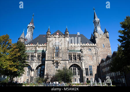 Aachen City Hall, Aachen or Aix-la-Chapelle, North Rhine-Westphalia, Germany - Stock Photo