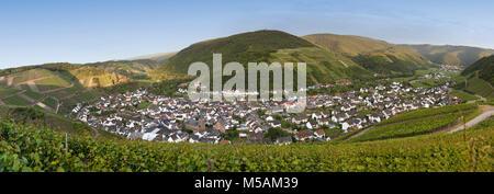 Dernau on the Ahr river, vineyards in the Ahrtal valley, Rhineland-Palatinate, Germany, Europe - Stock Photo