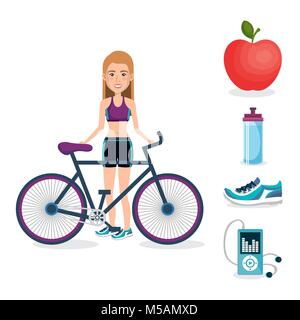 female athlete with fitness icons - Stock Photo