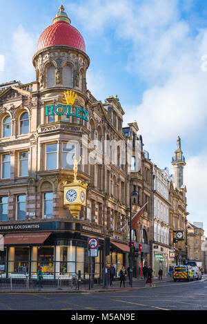 Newcastle city centre, view of the colourful facade of the Northern Goldsmiths jewellery shop on the corner of Blackett - Stock Photo