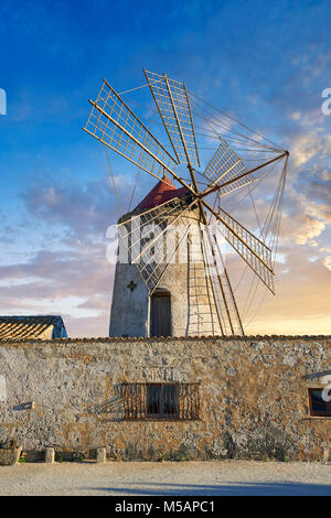 Pictures & images of Nubia Salt works Museum and Nubia wind mill,  World Wildlife reserve of Saline di Trapani and - Stock Photo