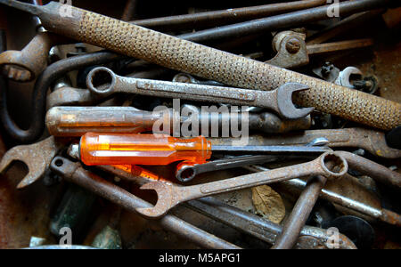 Old and dirty repairman's tools photo in day lighting. - Stock Photo