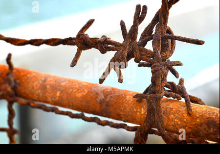 Old and rusty barbed wire at out door from the beach photo with outdoor sun  lighting - Stock Photo