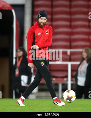Ostersunds FK's Curtis Edwards during the training session at the Emirates Stadium, London. - Stock Photo