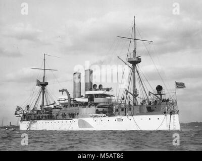 USS Maine (ACR-1) American naval ship that sank in Havana Harbor - Stock Photo