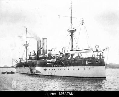 USS Maine (ACR-1) American naval ship that sank in Havana Harbor - Stock Photo