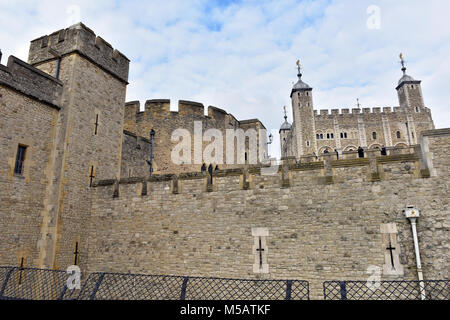 the tower of london historic monument or castle prison tourist attraction or places of historic interest in history - Stock Photo