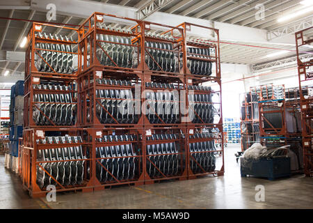 The golf vehicle section of the Volkswagen factory in Puebla, Mexico on Wednesday, January 21, 2015. This is one - Stock Photo