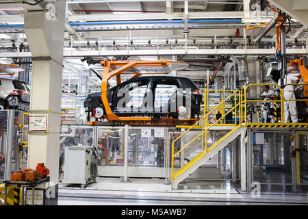A Golf vehicle frame at the Volkswagen factory in Puebla, Mexico on Wednesday, January 21, 2015. This is one of - Stock Photo