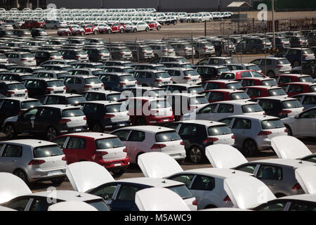 Vehicles ready to ship from the Volkswagen factory in Puebla, Mexico on Wednesday, January 21, 2015. This is one - Stock Photo