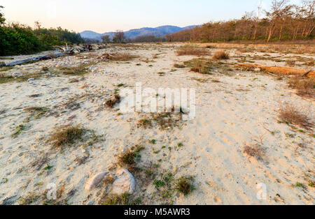 North Indian ecology: View of dried up riverbed in Jim Corbett National Park wildlife sanctuary, Ramnagar, Uttarakhand - Stock Photo