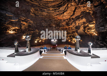 Lanzarote, Spain - February 11, 2018: Auditorium in famous landmark Los Jameos del Agua in Lanzarote, Canary islands, - Stock Photo