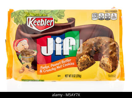 Winneconne, WI - 22 January 2018: A package of  Keebler Jif crunchy nut cookies on an isolated background. - Stock Photo