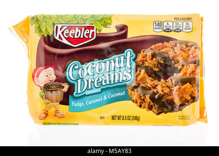 Winneconne, WI - 22 January 2018: A package of  Keebler Coconut Dreams ccookies on an isolated background. - Stock Photo